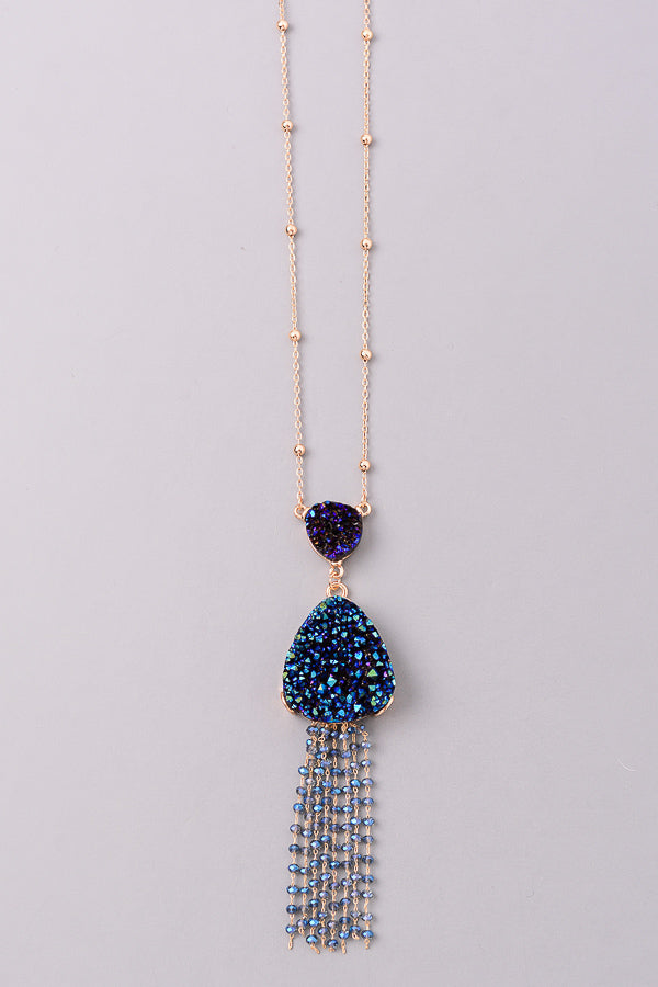Double Stone Fringe Necklace, Blue
