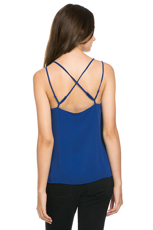 Crisscross Back Tank Top, Royal