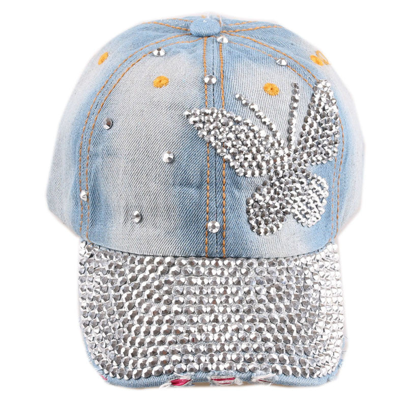 Rhinestone Butterfly Denim Baseball Cap