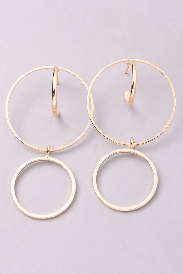 Dual Circle Cut Out Dangle Earrings