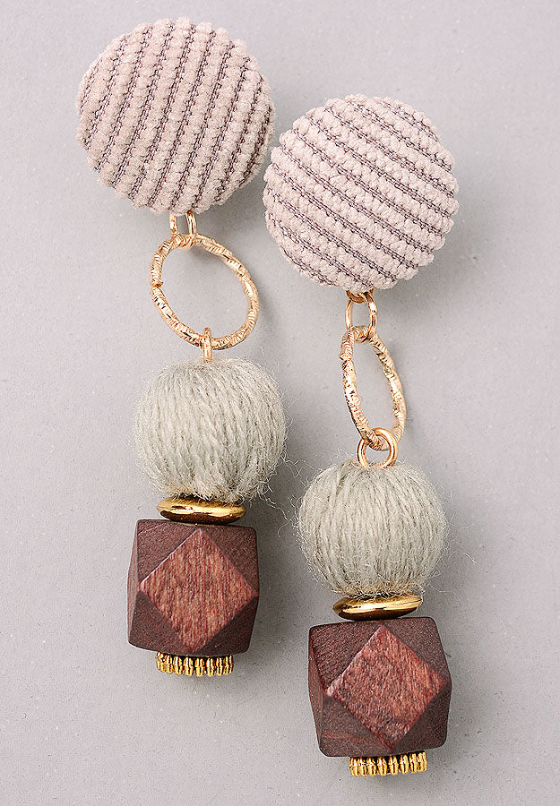 Fuzzy Orb Drop Dangle Earrings