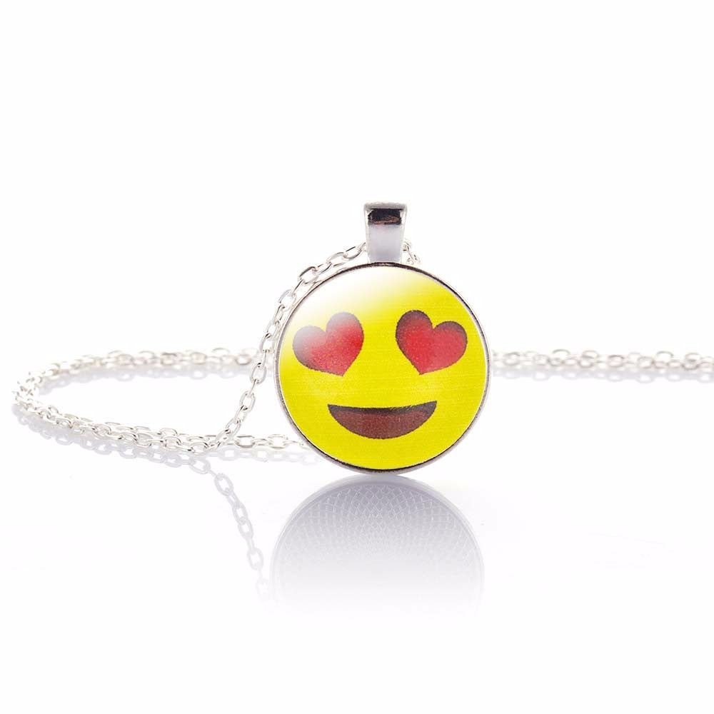 Fun Emoji Pendant, Heart Eyes