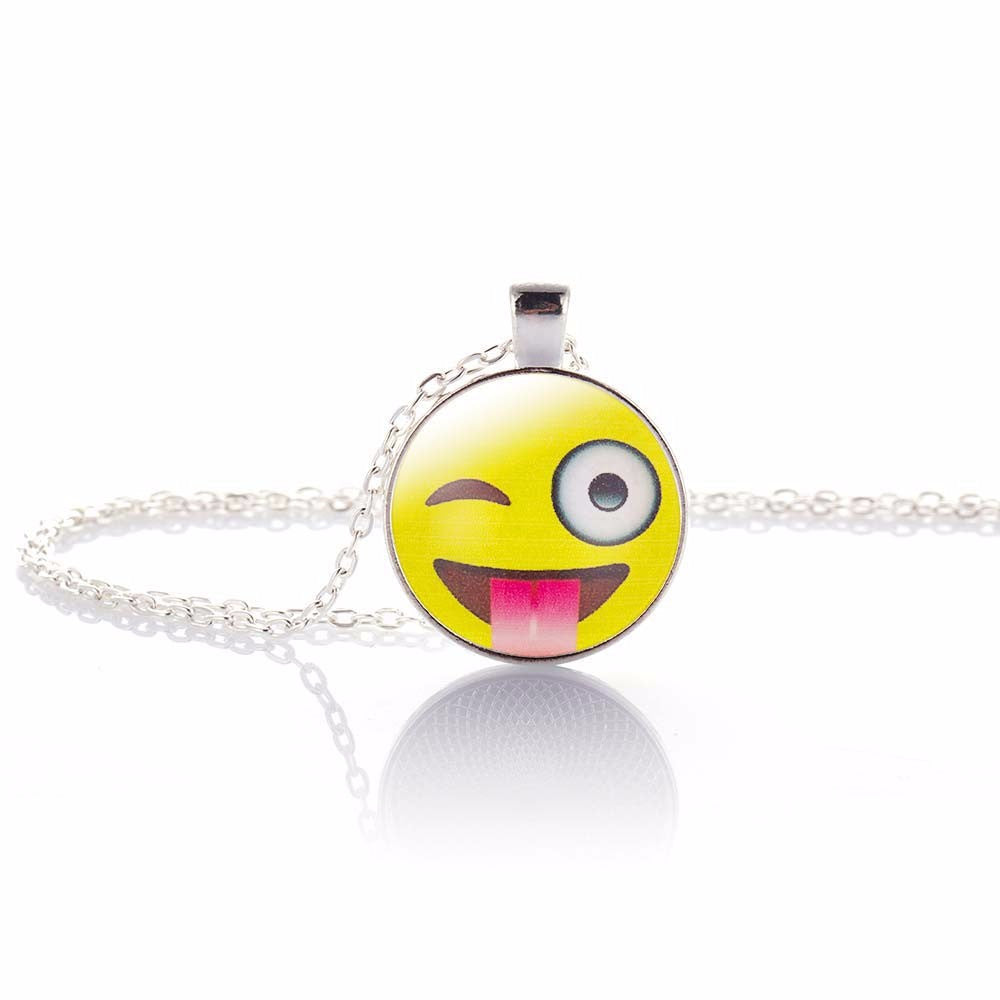 Fun Emoji Pendant, Wink/Tongue