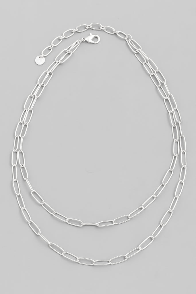Layered Chain Necklace, Silver