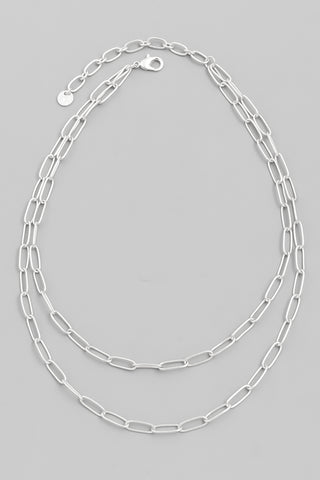 Toggle Chain Heart Necklace, Silver