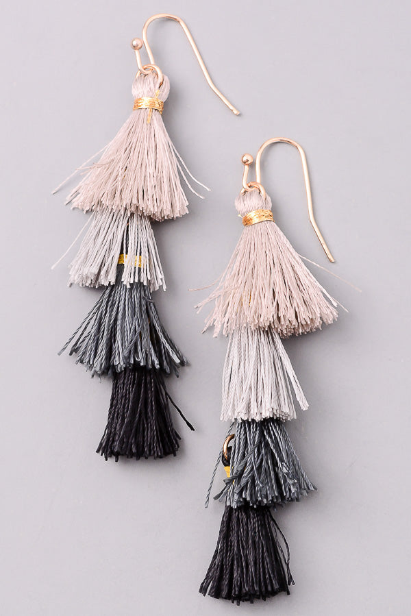 Boho Tassel Layered Earrings