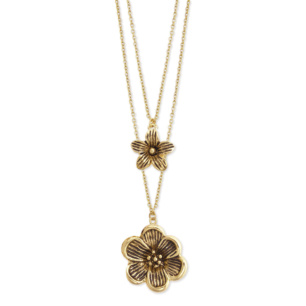 2 Line Gold Flower Charm Necklace