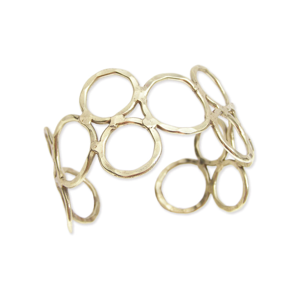 Gold Hammered Circles Cuff Bracelet
