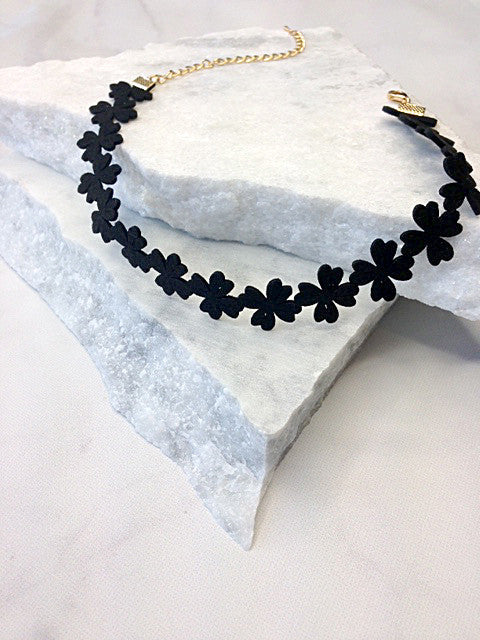 Floral Cutout Faux Suede Choker Necklace, Black
