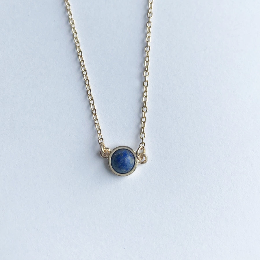 Round Natural Stone Necklace, Blue