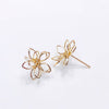 Wire Sculpted Flower Earrings, Gold Oval