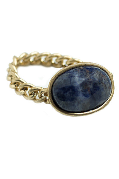 Natural Stone Chain Ring, Navy