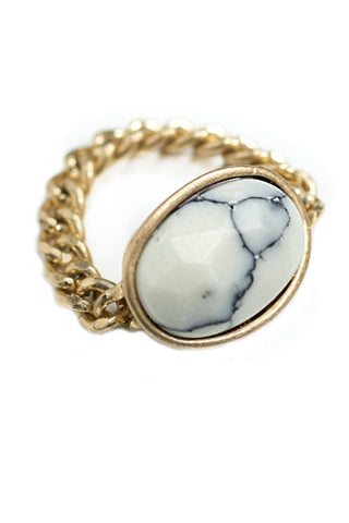 Iridescent Glass Bead Hammered Metal Stretch Ring, White
