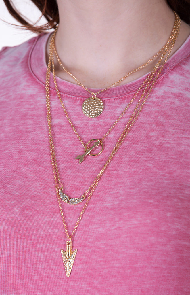 Layered Gold Arrowhead Necklace