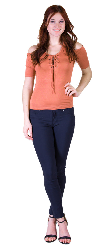 Open Shoulder Lace Up Top, Dusty Salmon