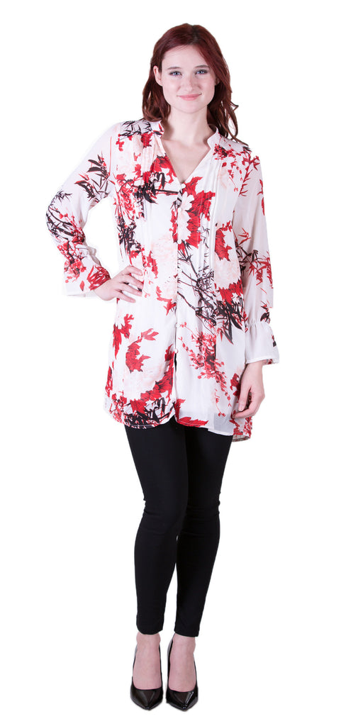 Long Sleeve Floral Print V Neck Dress, Red