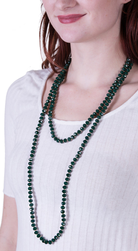 Iridescent Glass Bead Extra Long Necklace, Green