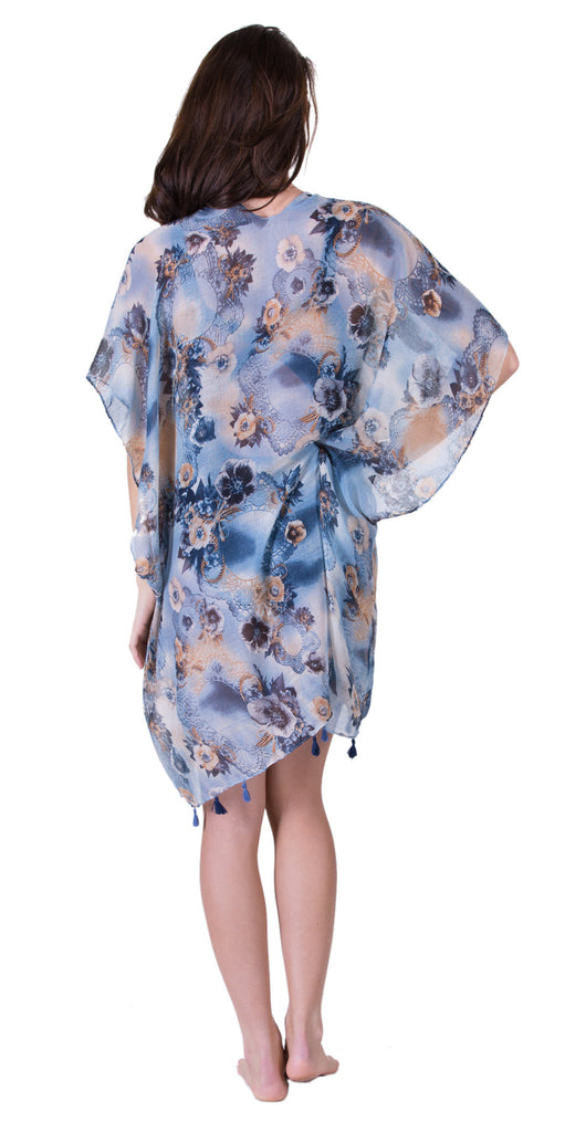 Sheer Poncho Scarf, Blue/Peach Floral