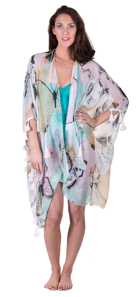 Sheer Poncho Scarf, Butterfly Print