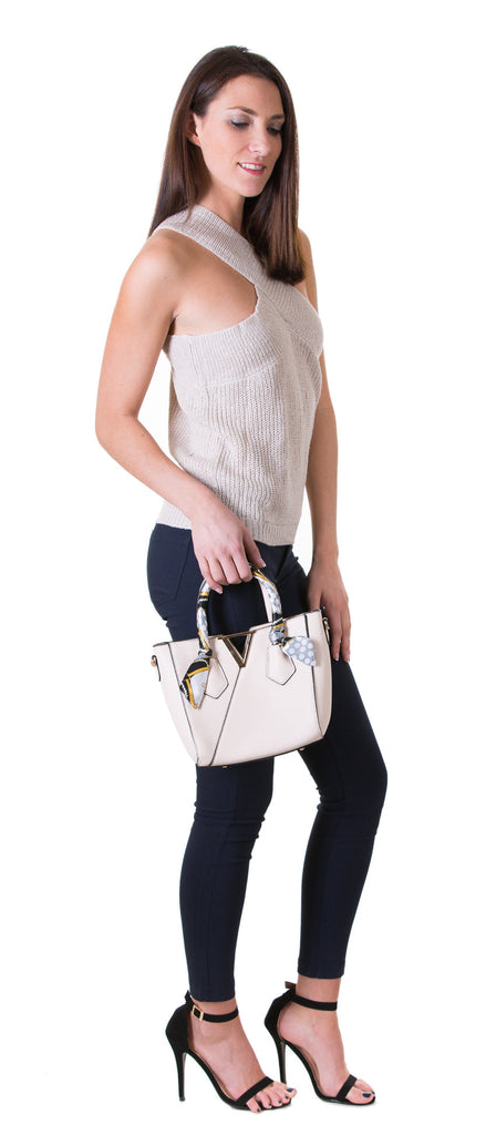 Gold & Scarf Accented Handbag Tote, Beige