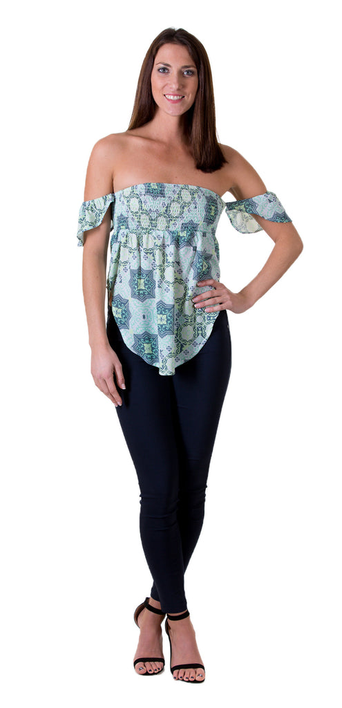 Geo Print Ruched Baby Doll Top, Green
