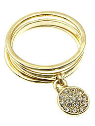 Pave Crystal Charm Ring, Gold