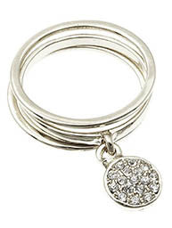 Pave Crystal Charm Ring, Silver