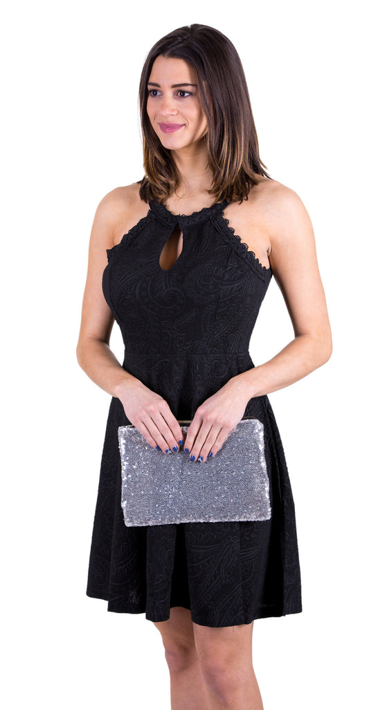 Sequin Clutch Handbag, Silver