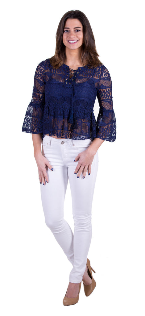 Cute Lace Top With Lining, Navy