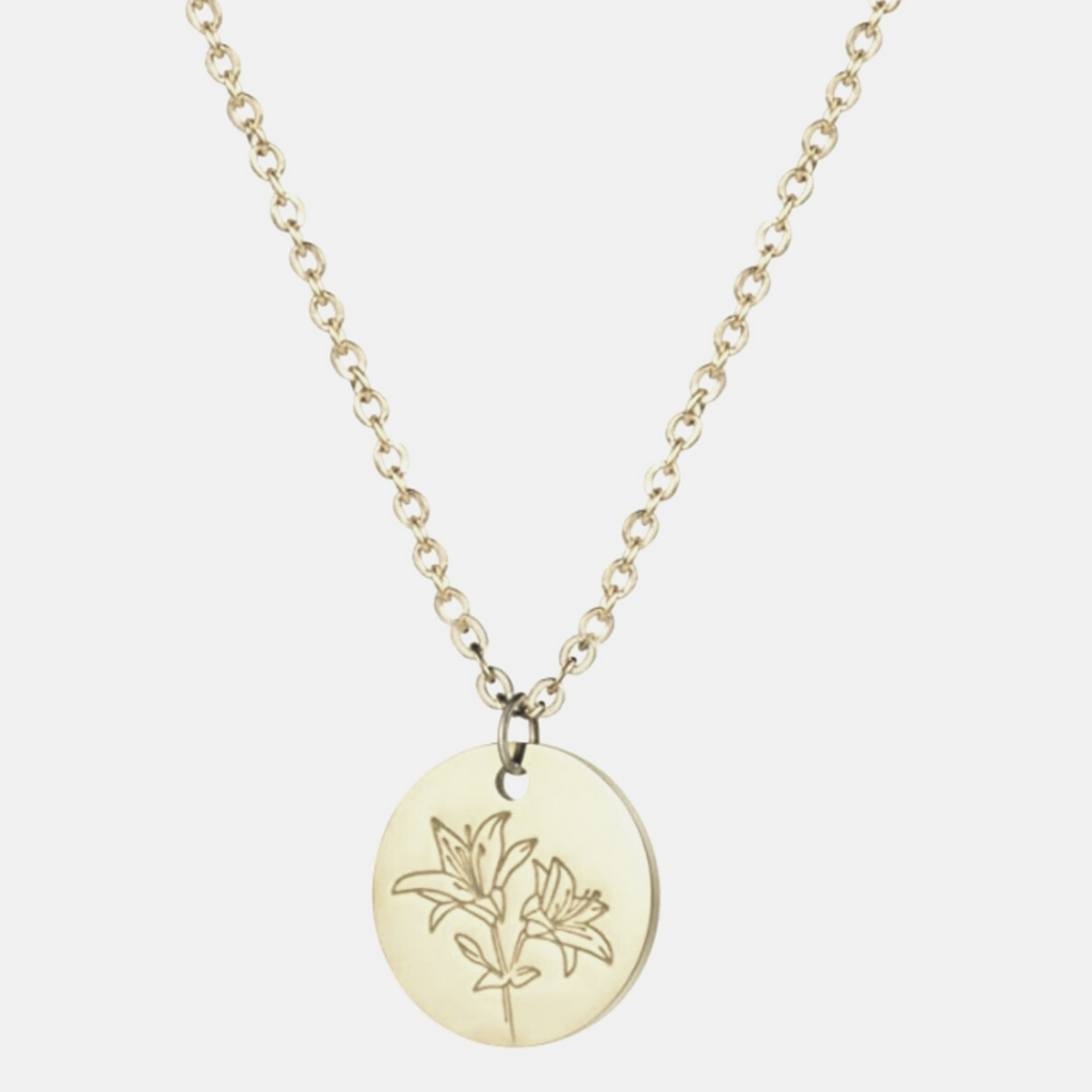 Delicate Flower Disc Necklace, Lily