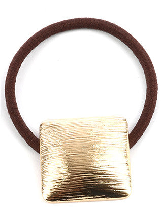 Square Convex Metal Hair Tie, Gold