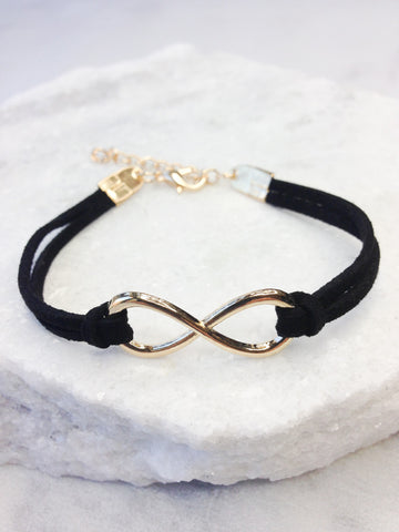 Black Mesh Bracelet With Open Crystal Heart