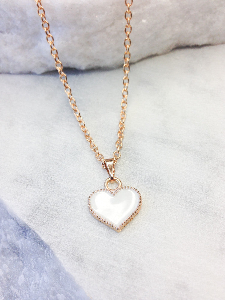 Delicate Gold Heart Necklace, White