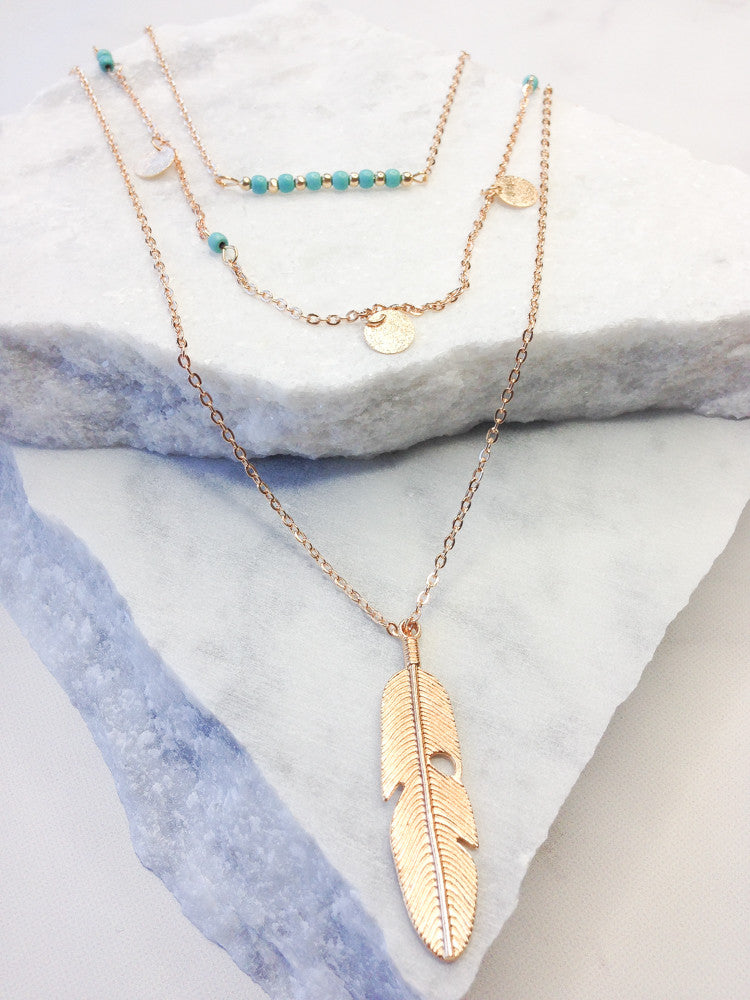 Layered Turquoise Feather Necklace, Gold
