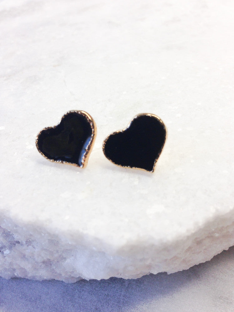 Heart Stud Earrings, Black