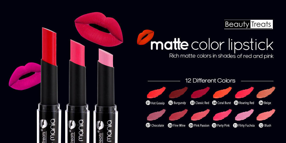 Beauty Treats Matte Mania Lipstick, Burgundy