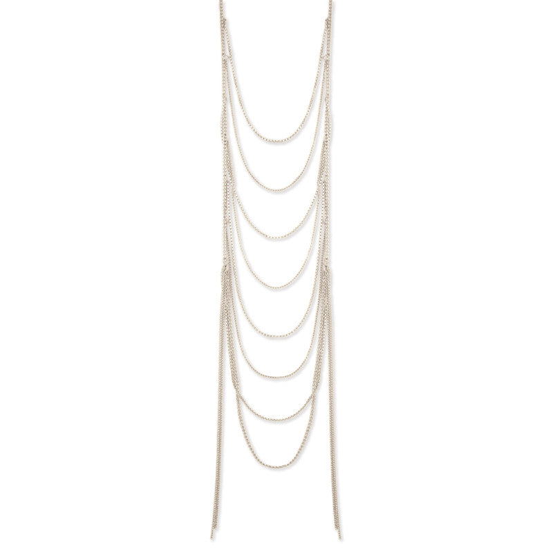 Silver Metal Chain Ladder Necklace