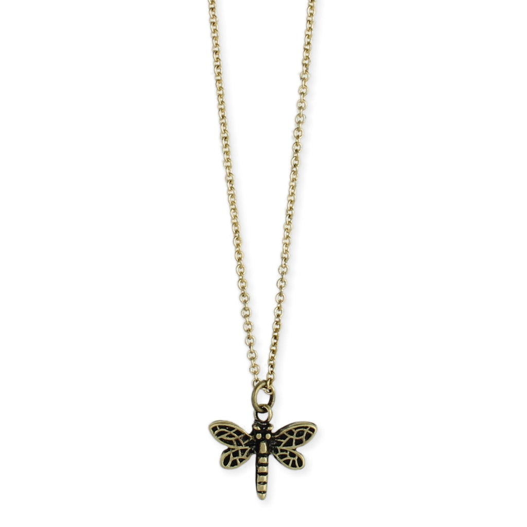 Gold Dragonfly Charm Necklace
