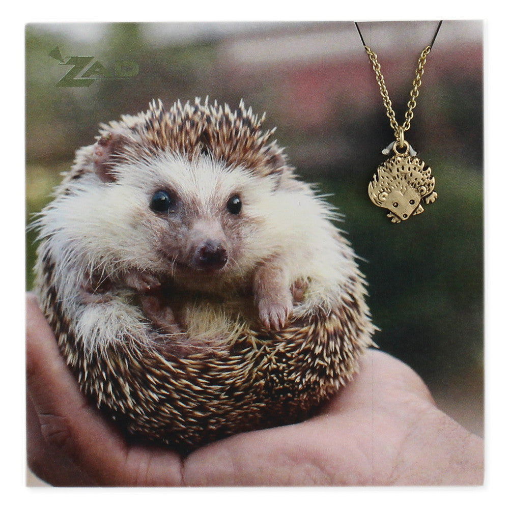 Gold Hedgehog Charm Necklace