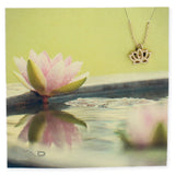 Gold Lotus Flower Charm Necklace
