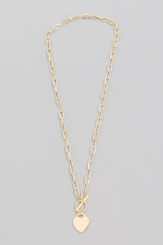 Toggle Chain Heart Necklace, Gold