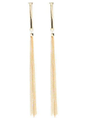 Long Chain Fringe Metal Rod Earrings