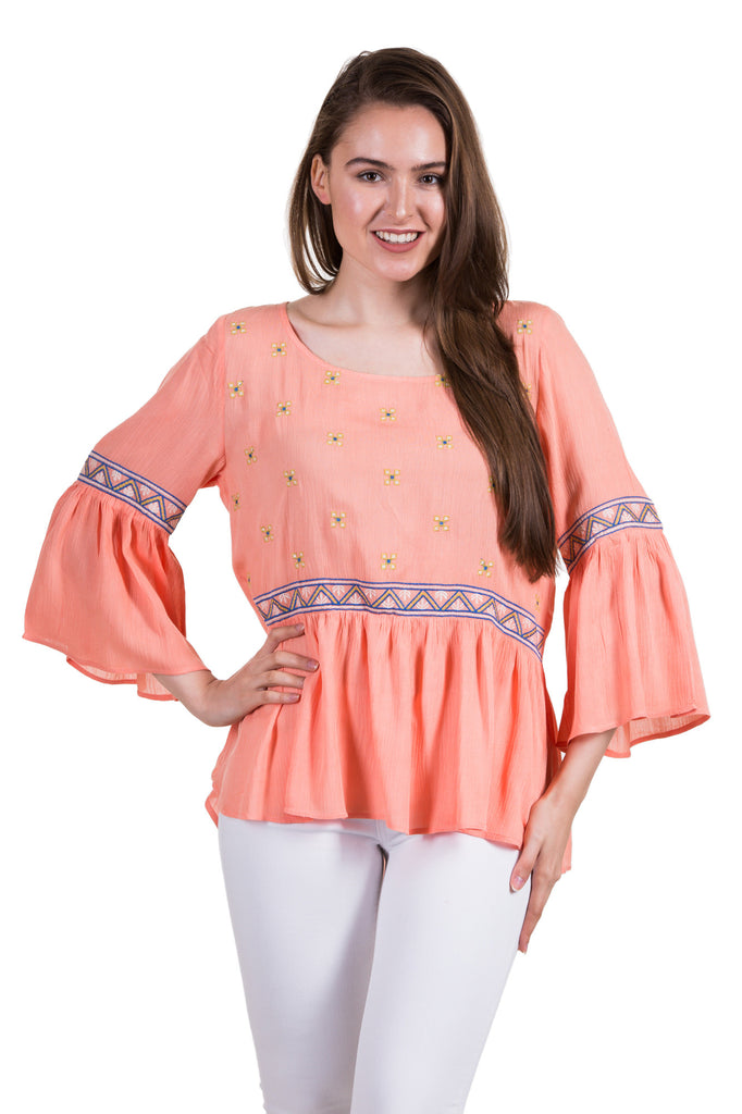 Bell Sleeve Embroidery Detail Blouse, Peach