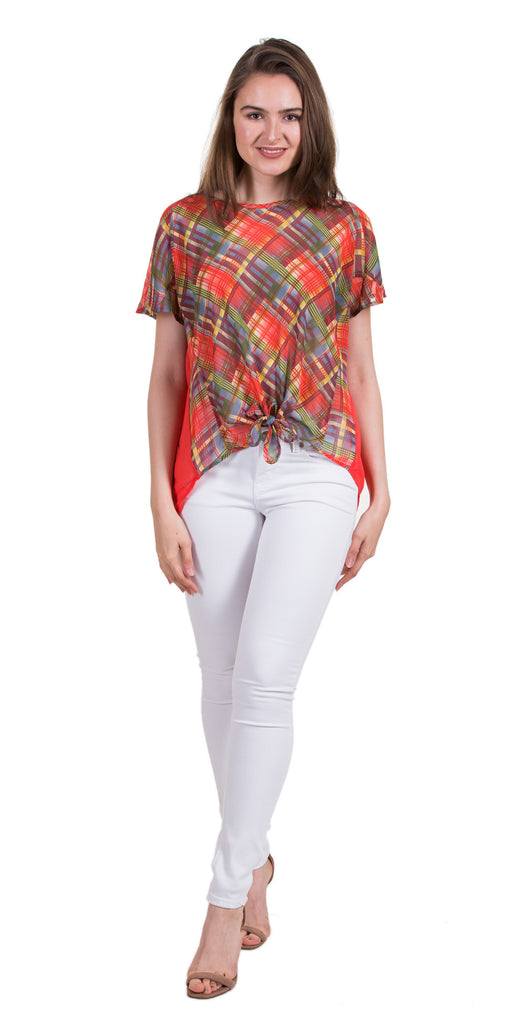 Checker Print Top With Tied Hem, Coral