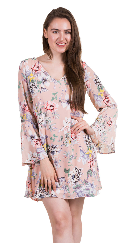 Long Sleeve Floral Loose Fit Dress, Blush
