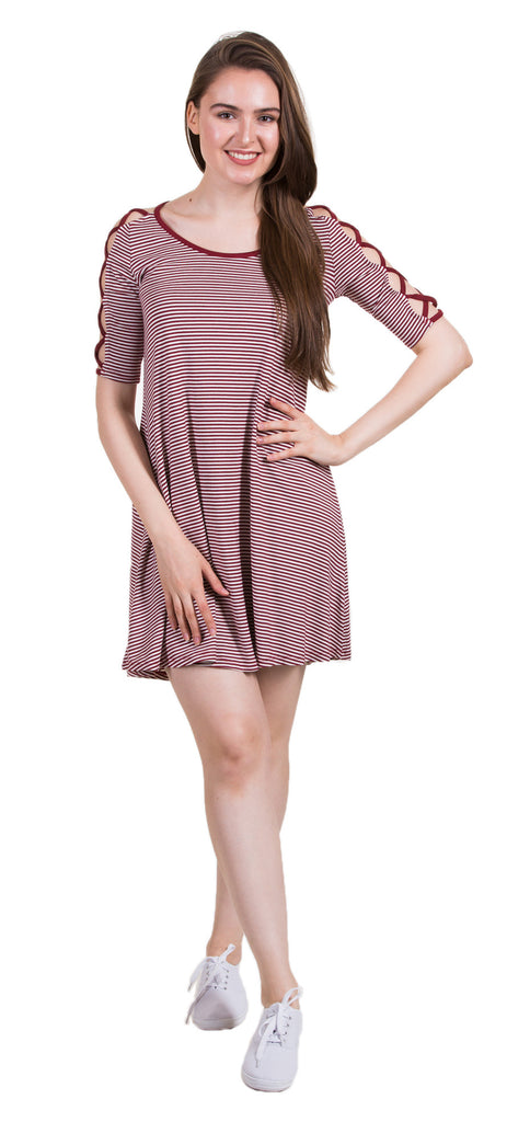 Elbow Sleeve Strap Detail Dress, Burgundy/White