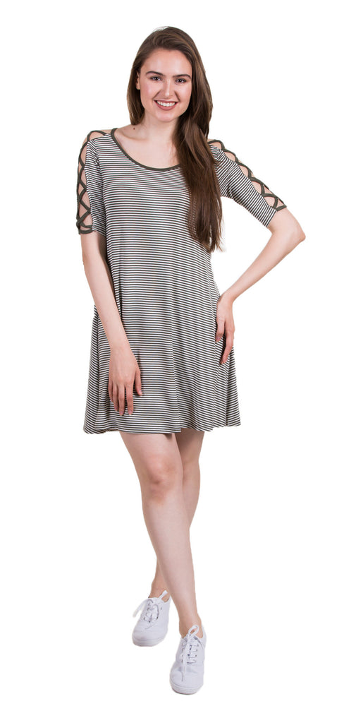 Elbow Sleeve Strap Detail Dress, Olive/White