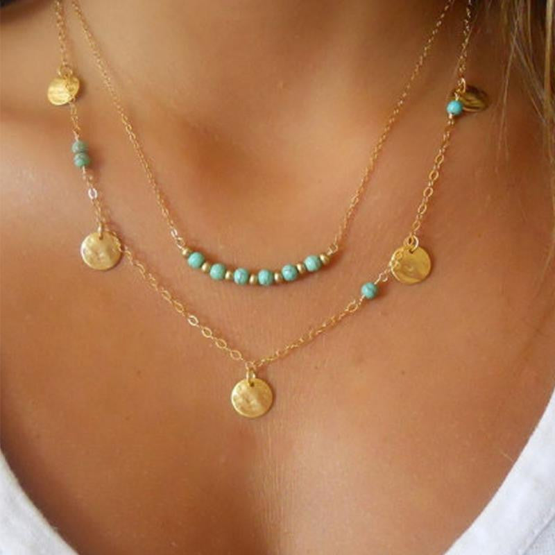 Layered Turquoise Beads Gold Charm Necklace