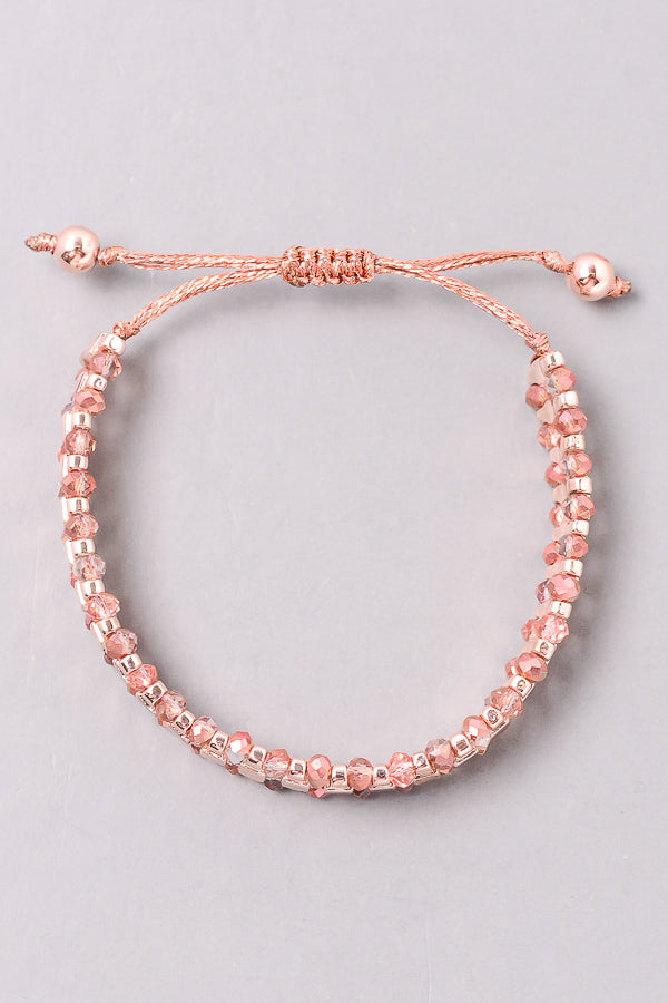 Crystal Beaded Cord Bracelet, Rose Gold