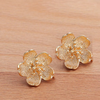 Vibrant Flower Earrings, Gold Primrose